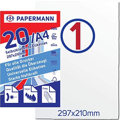 Sticker Papier A4 Etiketten Papier A4 Klebeetiketten Universal DIN groß 210 x 297 mm Stickerpapier 20 Blatt Selbstklebendes Matt Rücksendeetikett Selbstklebend Adressetiketten Sticker Drucker Label