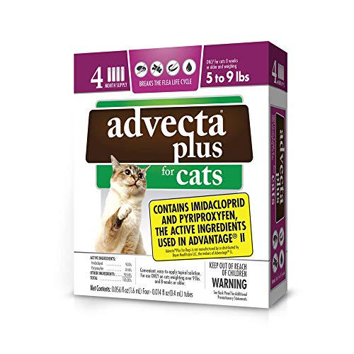 Advecta Plus Flea Protection for Small Cats, Long-Lasting and Fast-Acting Topical Flea Prevention, 4 Count