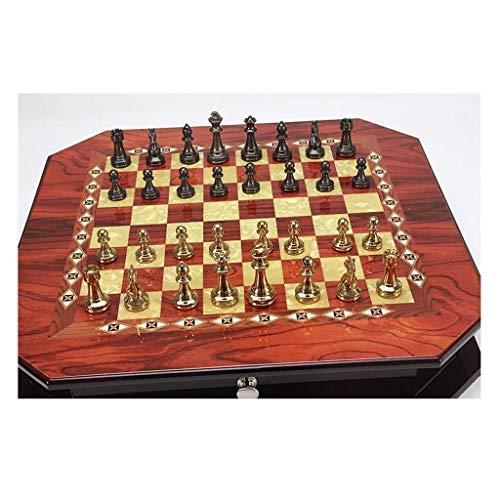 GPWDSN Juego de ajedrez clásico Práctico Metal Brillante Vintage Chapado en Oro Piezas de ajedrez Tablero de ajedrez de Madera Maciza Juego de Juegos Decoración del hogar B (Ejercic