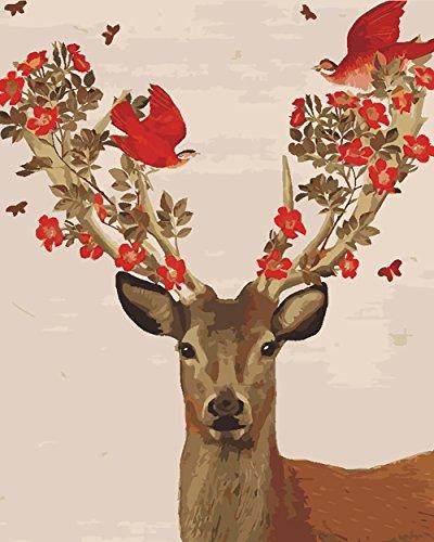 Fuumuui DIY Malen Nach Zahlen-Vorgedruckt Leinwand-Ölgemälde Geschenk für Erwachsene Kinder Kits Home Haus Dekor - Rote Vögel Im Rotwild 40*50 cm