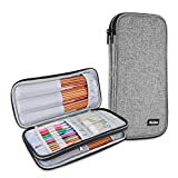 ProCase Knitting Needles Case (up to 11 Inches), Travel Organizer Storage Zipper Bag for Circular and Straight Knitting Needles, Crochet Hooks and Other Accessories (NO Accessories Included), Grey