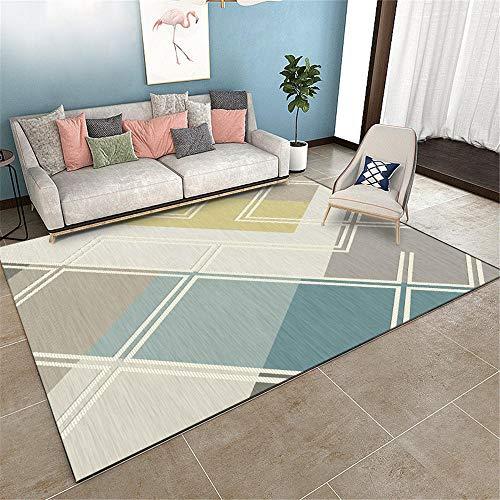 WQ-BBB Alfombras Higroscópico Moqueta Diseño geométrico alfombras Dormitorio Gris Amarillo Azul Super Lujoso Decorativa Habitación La Alfombrae 80X120cm