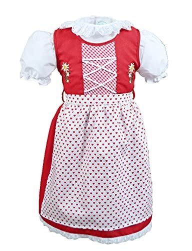 Schrammel Kinderdirndl Rotes Mädchen Dirndl Baby Dirndl Herz Bedruckt (98-104, Rot Herz)