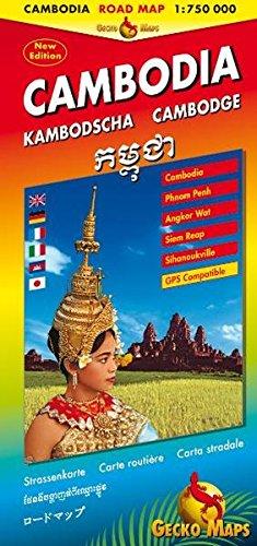 Kambodscha, Cambodia, Cambodge Strassenkarte: Cambodia Road Map 1:750000, Phnom Penh 1:15000, Angkor Wat Area 1:150000, Siem Reab 1:17000, ... Engl., Dt., Ital., Franz., Khmer, Jap.