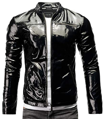 Crone Vego Herren Eco-Lederjacke Cleane Leichte Slim Fit Basic Jacke Vegan (XL, Shiny Black (Ecoleder))