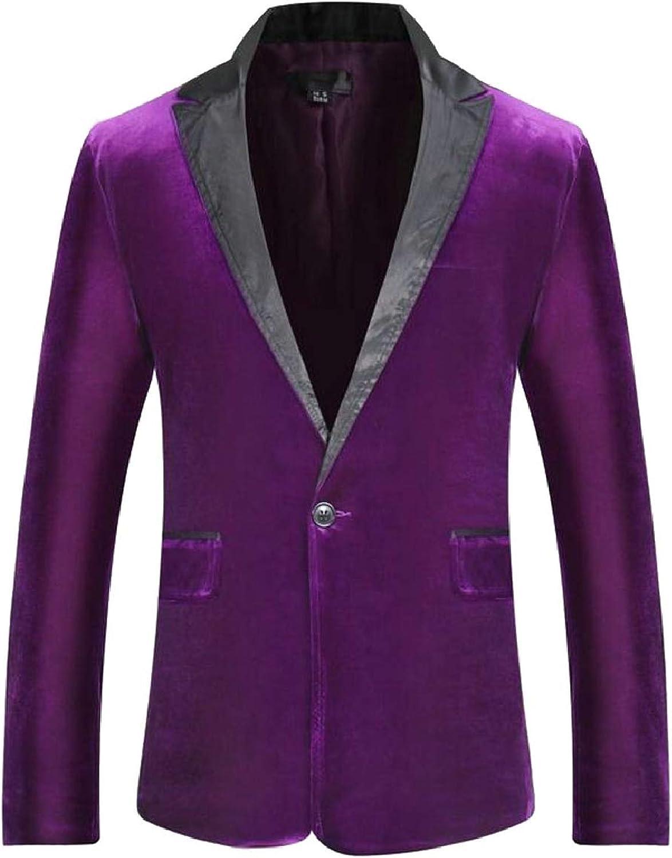 - Tymhgt-CA Men's Basic One Button Slim Solid Velvet Suit Suit Suit Sport Coats Jacket 0ed0a4