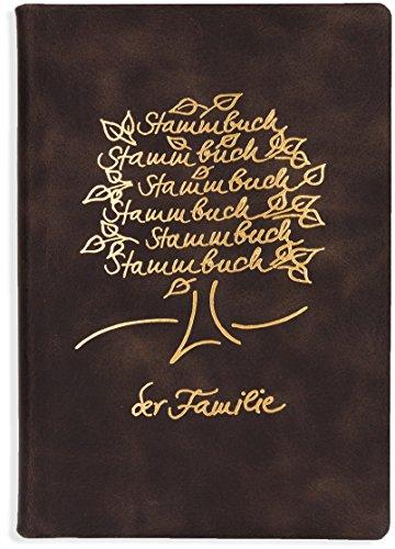 Stammbuch Der Familie -Ement-, Braunes Echtleder, Goldene Stammbaumprägung, Klemmschiene, Klemmtechnik, Familienstammbuch, Stammbücher
