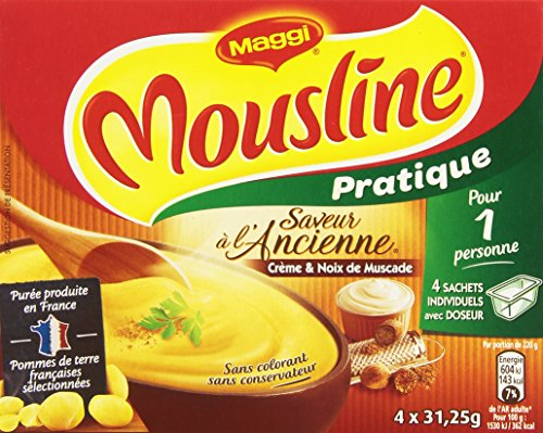 Maggi Mousline Purée Saveur à l'Ancienne Crème Muscade Format Individuel avec doseur 4 sachets pour 1 personne (4x31,25g) - Lot de 5