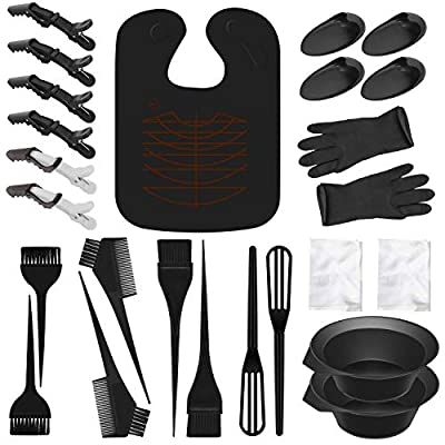 26 Pieces Hair Dye Coloring Kit-3 Sets Hair Dye Color Brush Hair Dye Comb and Mixing Bowl and Ear Cover,Hair Dyeing Gloves,DIY Salon Hair Dye Tools