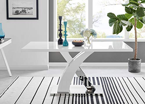 Furniturebox UK Atlanta Rectangle Chrome Metal Modern Stylish High Gloss White 6 Seater Dining Table with Contrasting X Shaped Legs