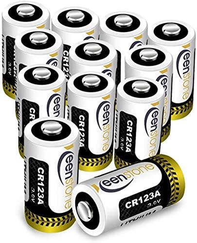 Keenstone 12 Piles Lithium CR123A, 3V 1600mAh Batterie Lithium Jetable, Haute Performance pour Lampe Torche Appareil numérique Jouets Microphone etc. (Lot de 12)
