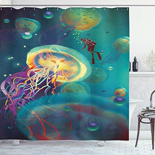 ABAKUHAUS Leben im Meer Duschvorhang, U-Boot-Quallen, mit 12 Ringe Set Wasserdicht Stielvoll Modern Farbfest & Schimmel Resistent, 175x180 cm, Lila Teal