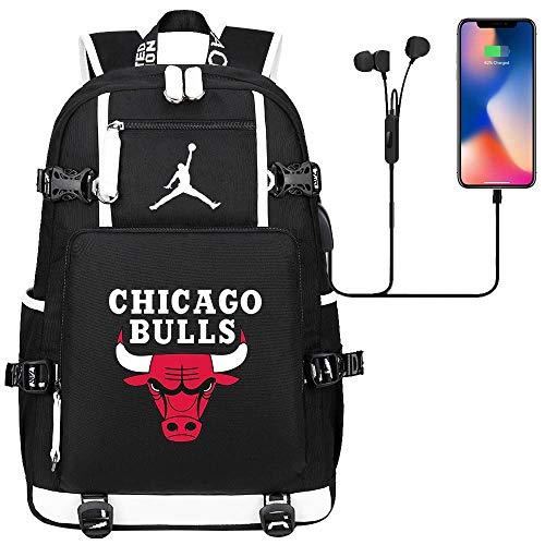 GXB Multifunktionale Sport Rucksack Basketball Fan Schultasche Reiserucksack NBA Chicago Bulls Nr. 23 Michael Jordan Schwarz