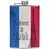 Flachmann für Likör & Trichter, 237 ml, 18/8 Edelstahl, Frankreich-Flagge mit Eiffelturm-Lederbezug, auslaufsicher für diskretes Trinken von Alkohol, Whiskey, Rum & Wodka, Geschenk für Männer
