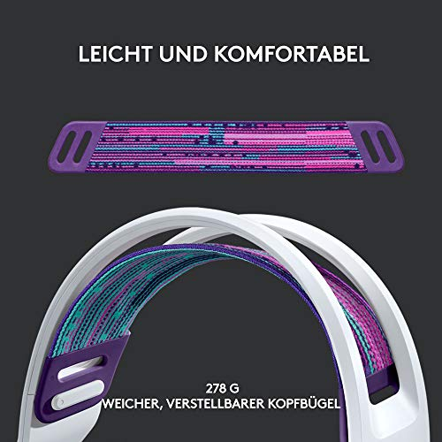 Logitech G733 LIGHTSPEED kabelloses Gaming-Headset mit Kopfbügel, LIGHTSYNC RGB, Blue VO!CE Mikrofontechnologie, PRO G Lautsprechern, Ultraleicht, 15-Stunden Akkulaufzeit, 20m Reichweite, Weiß