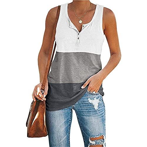 Camisola Mujer Elegante Moda Verano Cuello Redondo Empalme Mujer Blusa Único Botones Diseño Mujer T-Shirts Diario Casual Cómodo All-Match Mujer Tops B-White M