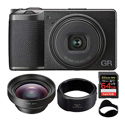 Ricoh GR III Premium Compact Digital Camera with GW-4 Wide Conversion Lens and Lens Adapter Bundle (4 Items)