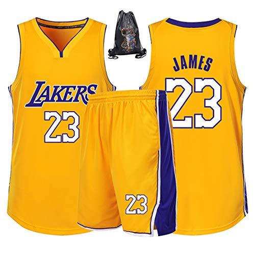 HGFF Basketball-Uniformanzug für Junge Männer, Lakers 23 James, ärmellose Sommer-Sportweste T-Shir und Basketballtasche-White-XS