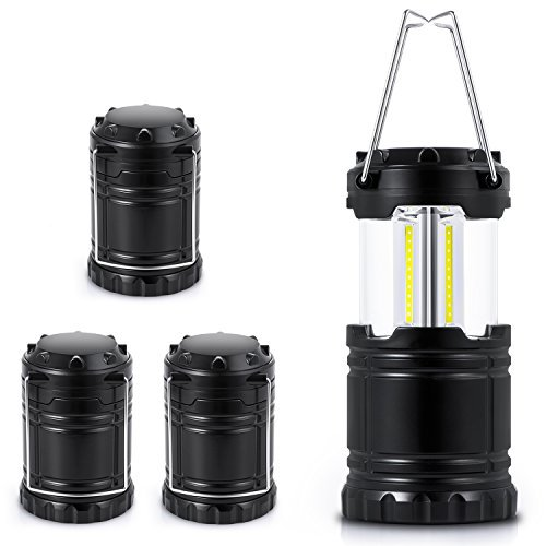 Sunnest 4 Pack Portable Outdoor LED Camping Lantern Flashlight (Emits 300 Lumens), Camping Equipment Gear Lights for Hiking, Emergency, Backpacking, Outages, Hurricanes, Storms (Black, Collapsible)