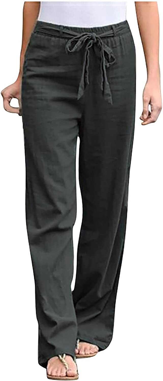 Women Sashes Straight Casual Long Pants Cotton Linen Wide Leg Pants Loose Daily Ladies Elastic Waist Trousers