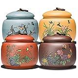 HJHJ Tarro Regalo Frascos De Cerámica De 4 Piezas con Tapones De Mango Vintage Zisha Tea Jar Jarbitros Hermosos Conjuntos De Barcos para La Cocina (Color : Canister Set 4-Piece)