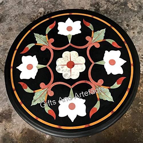 Gifts And Artefacts - Mesa de centro de mármol para patio, color negro, 14 pulgadas