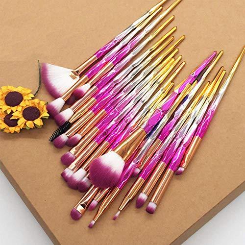 LZJE 20 pcs Diamant Maquillage Brosse Ensemble Pinceau pour Les Yeux Beauté Outils Fan Poudre Fard À Paupières Contour Beauté Cosmétique Coloré, Rouge