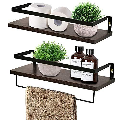 RANK Floating Shelves Wall Mounted Storage Shelves for Kitchen, Bathroom Set of 2 White (Espresso)
