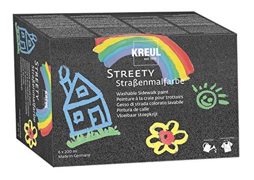 Kreul 43110 - Streety Straßenmalfarbe 6er Set, 6 Farben á 200 ml, abwaschbare Flüssigkreide zum Malen mit Pinsel oder Roller, flüssige Straßenmalkreide, vegan, dermatologisch getestet, auswaschbar