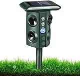 Ultrasonic Animal Chaser, Solar Animal Chaser, Motion Detector, Flashing Light and USB Charge, Outdoor Farm Garden Yard,...