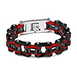 Ubeauty1999 Men's 19mm Wide Stainless Steel Heavy Motorcycle Biker Chain Bicycle Link Bracelet 8.66 Inch High Polish (Black & Red)