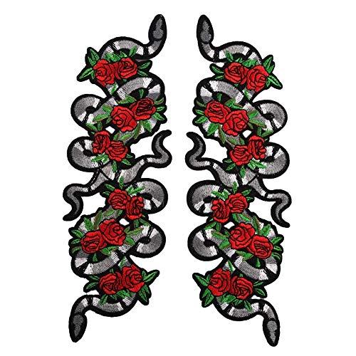 Parches para ropa Etiquetas engomadas del paño de la flor de la serpiente Pegatinas de parches Accesorios de la ropa de los accesorios de la ropa del remiendo del holón del holón Jeans 22.5 *