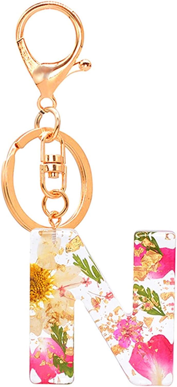 Letter Pendant Keychains Resin Key Chains Rings Women Cute Car Acrylic Glitter Dried Flower Alphabet Keyring Holder Charm Bag