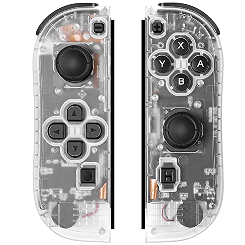 SogYupk Joy-Pad Controller Compatible with Switch Joycon,Switch Gamepad with Dual Vibration Motor Gyroscope, with Strap and Support Wake-up Function(Transparent White)