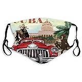 KENDIA Cómoda máscara a prueba de viento, Cuba, Turismo rural Tema publicitario Diseño vintage Fumador de cigarros y bailarina