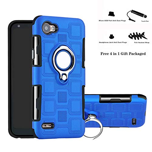 Labanema LG Q6 Funda, 360 Rotating Ring Grip Stand Holder Capa TPU + PC Shockproof Anti-rasguños teléfono Caso protección Cáscara Cover para LG Q6 / Q6 Plus / Q6 Mini - Azul