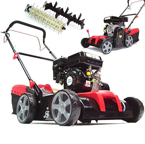 Benzin Vertikutierer 55791 Rasenlüfter 2in1 Lüfter 5,2 PS 196 ccm, 40L Fangkorb, 2 Walzen, 8-fach Schnitthöheneinstellung AWZ