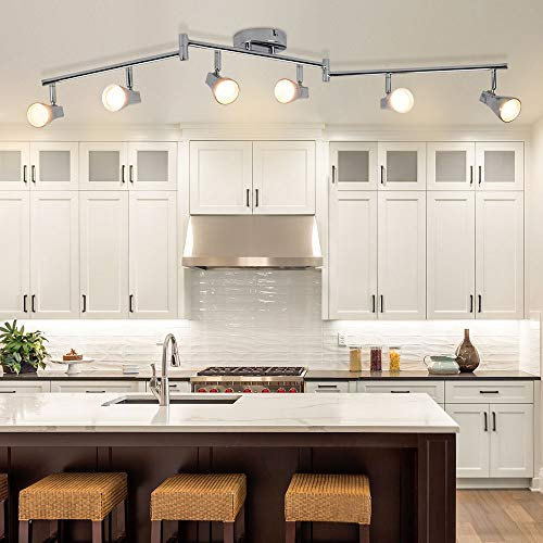 DLLT Modern LED Track Lighting Kit-6 Lights Adjustable Decorative Track Light Fixture, 6 Way Flush...