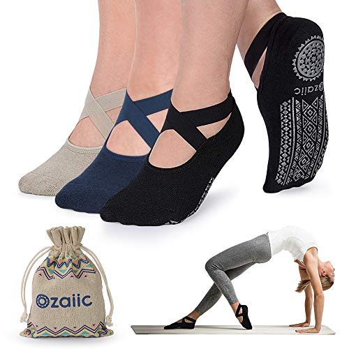 Non Slip Grip Socks for Yoga Pilates Barre Ballet Dance Fitness, Anti Skid Hospital Delivery Socks with Grips for Women Hawaii