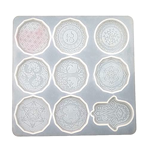 6Wcveuebuc Flor de la vida colgante de cristal epoxi resina molde joyería collar pendientes molde de silicona DIY manualidades herramientas de fundición