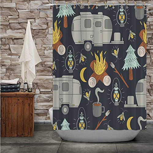 MOOCOM Airstream Camping Pattern Camp,Fabric Shower Curtain Bon with Hooks 72''Wx72''H