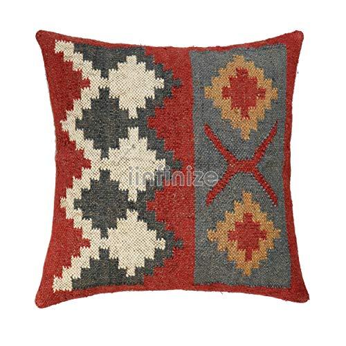 iinfinize Funda de almohada de yute de lana para sofá cuadrado Vintage Kilim almohada decorativa almohada de cama sofá hippie almohada bohemia Kilim almohada de salón funda de cojín (rojo)