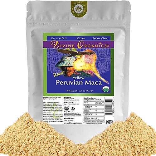 Divine Organics 2 Lb / 32 Ounce - Raw Peruvian Maca Powder - Certified Organic - Vegan, Antioxidant, Gluten Free - Mix in Coffee, Chocolate, Smoothies, Cereals - Yellow Peruvian Maca Root