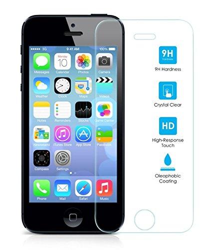 REY Protector de Pantalla para iPhone 5/5S/5C/SE Cristal Vidrio Templado Premium