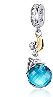 MEETCCY Fairy Charm 925 Sterling Silver Feathers Wing Angel Charms Blue Birthstone Girl Charms for Bracelets,Compatible wi...
