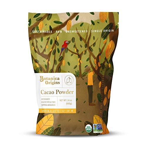 Botanica Origins Premium Organic Cacao Powder, 24 oz Value Pack | Raw | Unsweetened | Low Cadmium | Non-GMO | Vegan, Keto and Paleo Friendly
