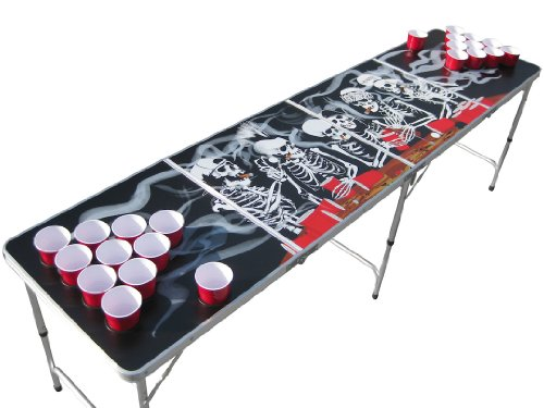 Bones Portable Beer Pong Table with Cup Holes