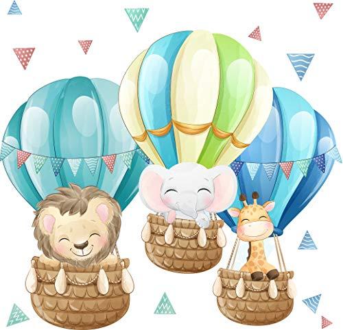 greenluup Öko Wandsticker Wandtattoo Heißluftballons Dschungeltiere Löwe Giraffe Elefant Deko Babyzimmer Kleinkind Kinderzimmer Mädchen Jungen