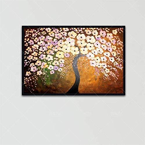 Olieverfschilderij op canvas handgeschilderd, abstracte bloem boom, spatel geel roze bloem in zwart trouw, groot modern huis decoratief kunstwerk voor woonkamer hal ingang slaapkamer eetkamer muur 80 x 120 cm