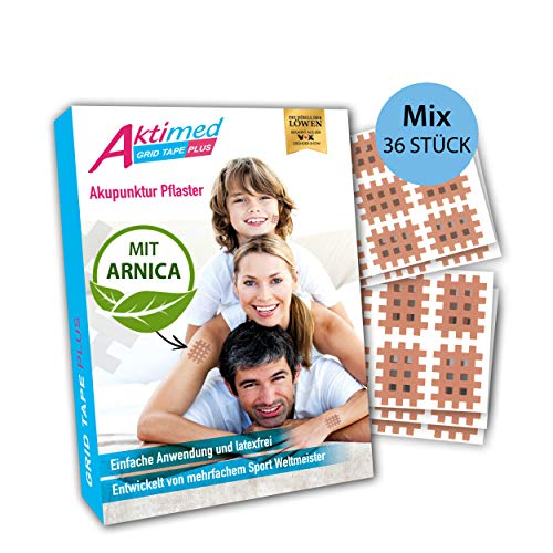 AKTIMED Grid Tape PLUS Mix - Patentbasierte Gittertapes mit pflanzlichem Extrakt Arnica D6* - Akupunkturpflaster dermatologisch getestet - Crosstape Gitterpflaster für Schmerz- und Triggerpunkte
